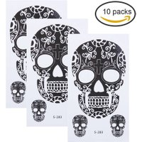 10pcs Skull Pattern Temporary Tattoo Stickers Waterproof Body Art Decal