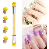 2 Heads Silicone Nail Art Brush Dotting Shaping Painting Pen Manicure Tools