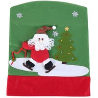 Christmas Chair Cover Santa Claus Snowman Xmas Party Dinner Table Chair Back Covers Christmas Decoration for Home
