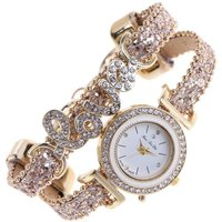 Fashion Women Love Leather Strap Bracelet Watch Quartz Wristwatch Gift(Gold