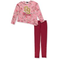 Girls Hearts Girls' 2-Piece Leggings Set Outfit - burgundy multi, 10-12