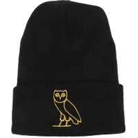 Korean Fashion Embroidery Cartoon Owl All-Match Leisure Knit Cap(Black)