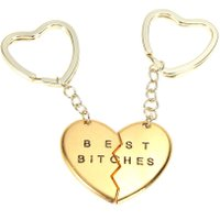 Romantic Love Heart Keychains For Couples Best Bitches Chaveiro E1IT