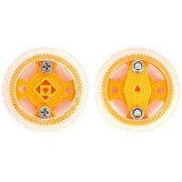 Smart Car Model 47x12mm Wearable Rubber Wheel for N20 Gear Motor - Yellow + Translucent White (2PCS)