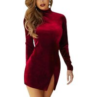 Women Mini Dress Velvet Casual Solid Color Long Sleeve Choker Side Slit Dress Sexy Slim Bodycon Warm Party Dresses Vestidos