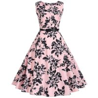 Women Vintage Dress Retro Floral Print High Waist Party Dress Elegant Female Dress Vestido de festa Robe M/L/XL/XXL
