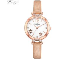 Women Watch Simple Leather Band Rhinestone Flower Analog Quartz Wrist Watch
