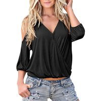 Women's Fashion Deep V Sexy Strapless Sling T-shirt Deep V Sexy Strapless Tops T-shirt Summer Three-quarter Sleeve Tee 3 Colors